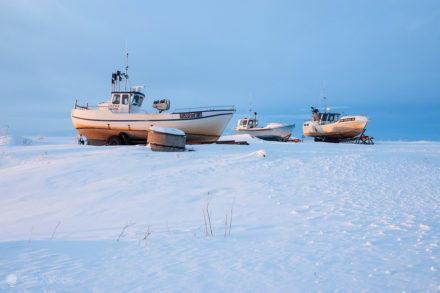 Barcos sobre o gelo, ilha de Hailuoto, Finlândia