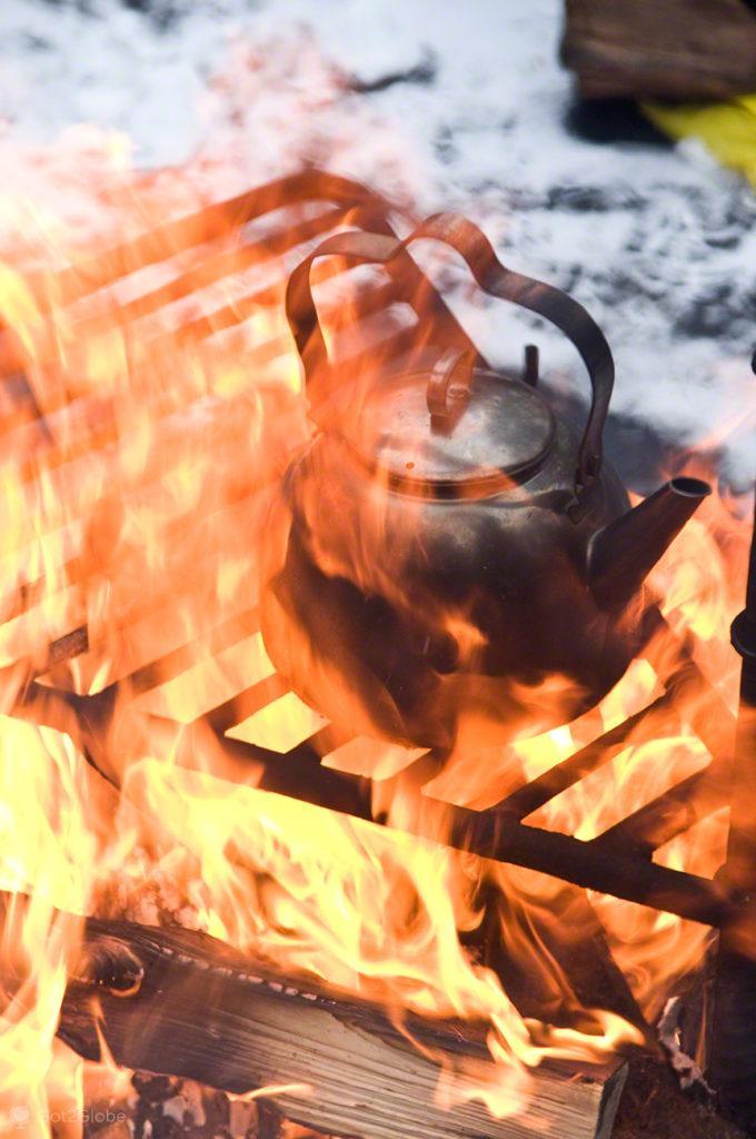 Cafeteira ao lume, Oulanka, Finlandia