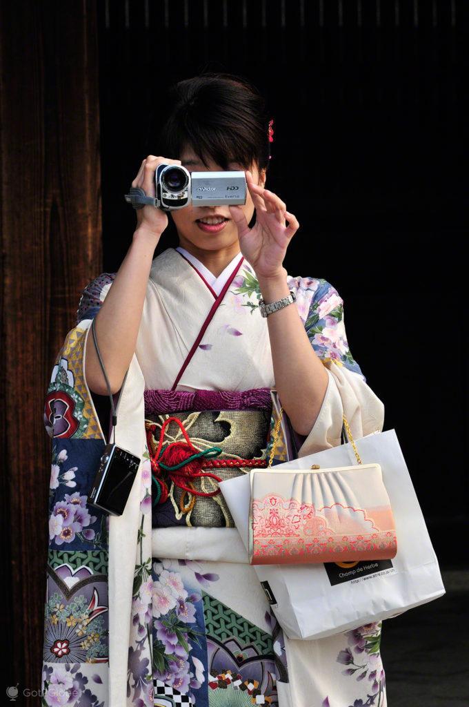 Convidada de casamento templo Meiji, Tóquio, Japão