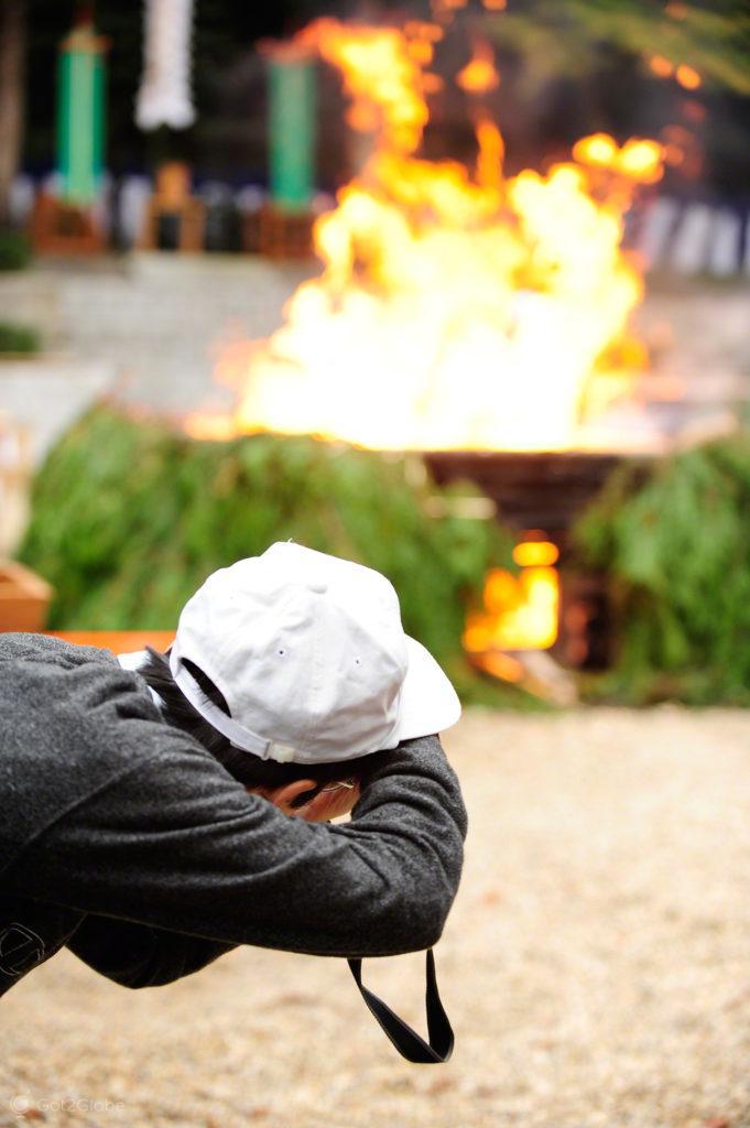 Fotografo no Fire Festival, Festival de Ohitaki, templo de fushimi, quioto, japao
