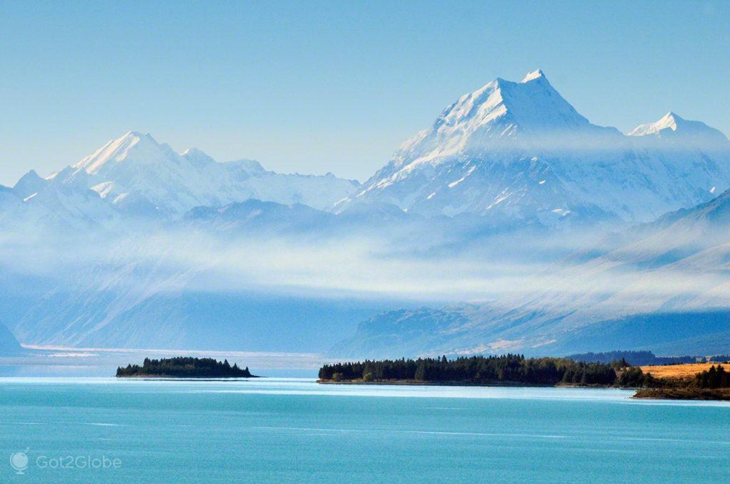 Mount cook na névoa, Alpes do sul, Nova Zelândia