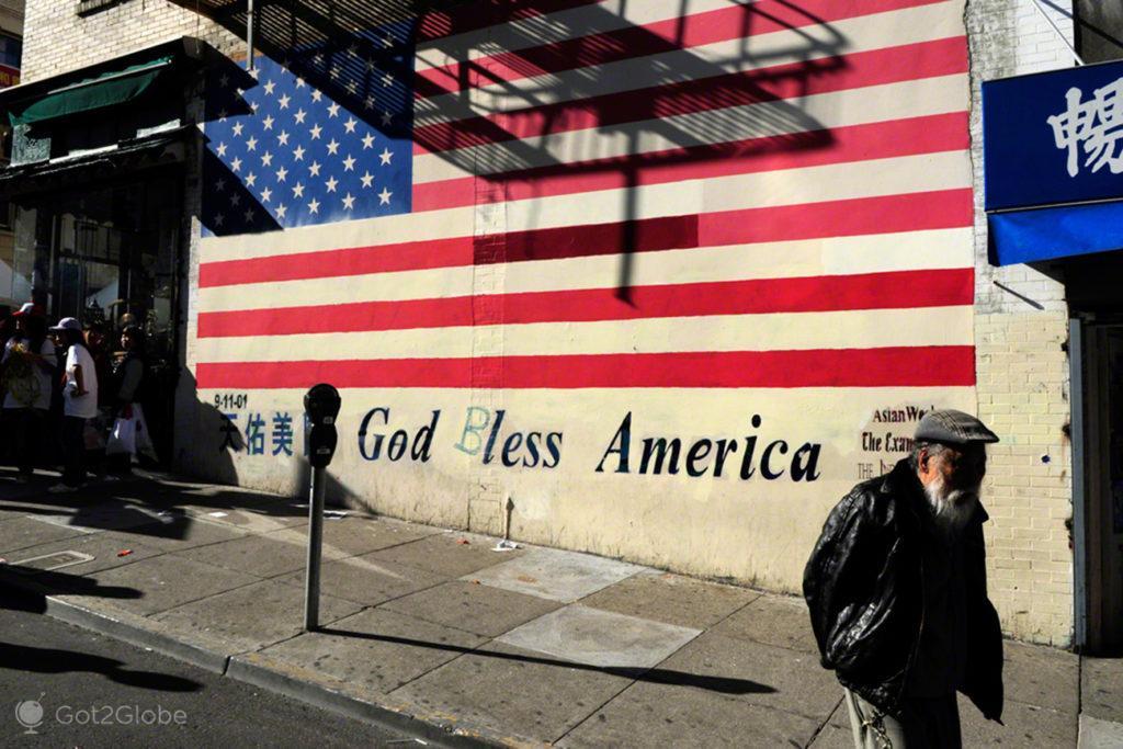 Mural bandeira, Chinatown-Sao Francisco, Estados Unidos da America