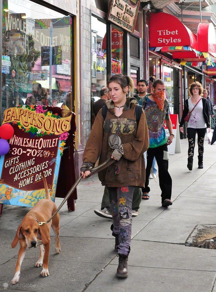 Neo punk, jovem, cao, Haight Ashbury, Sao Francisco, EUA, Estados Unidos America
