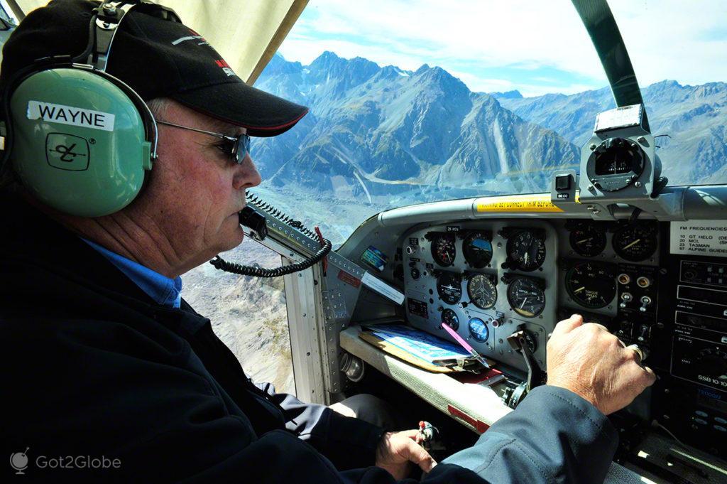 Wayne, Piloto da Mount Cook Ski Planes, Alpes do sul, Nova Zelândia