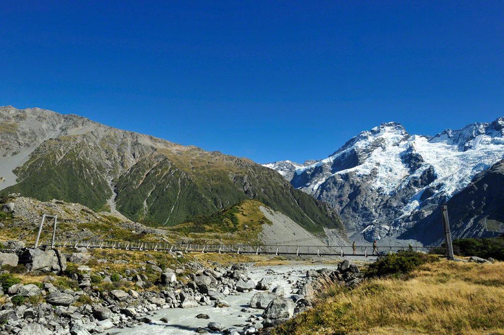 Ponte suspensa, Aoraki Mount Cook national park, Nova Zelândia