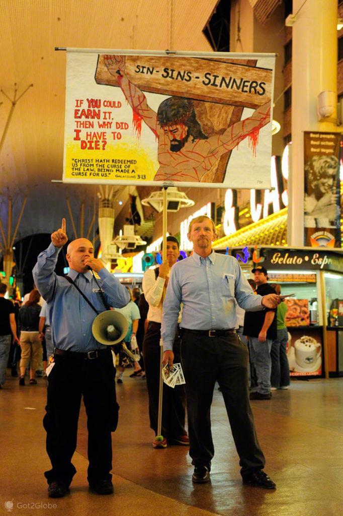 Pregadores religiosos, Fremont Street, Las Vegas, Estados Unidos