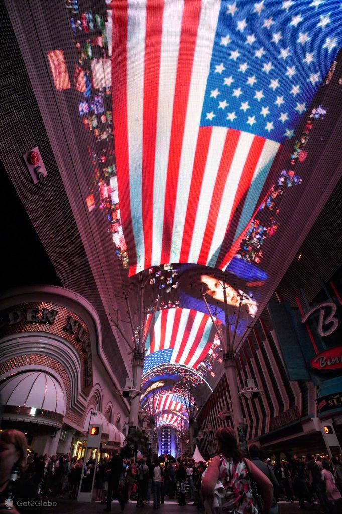 Projecção tecto USA, Fremont Street, Las Vegas, Estados Unidos