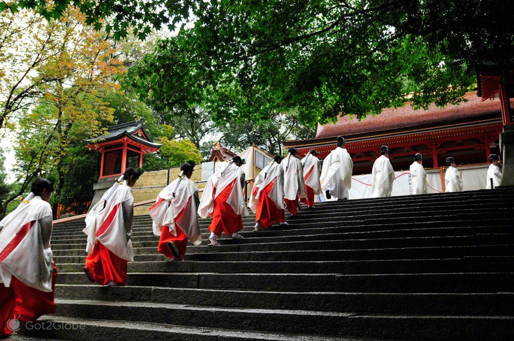 cortejo, Festival de Ohitaki, templo de fushimi, quioto, japao