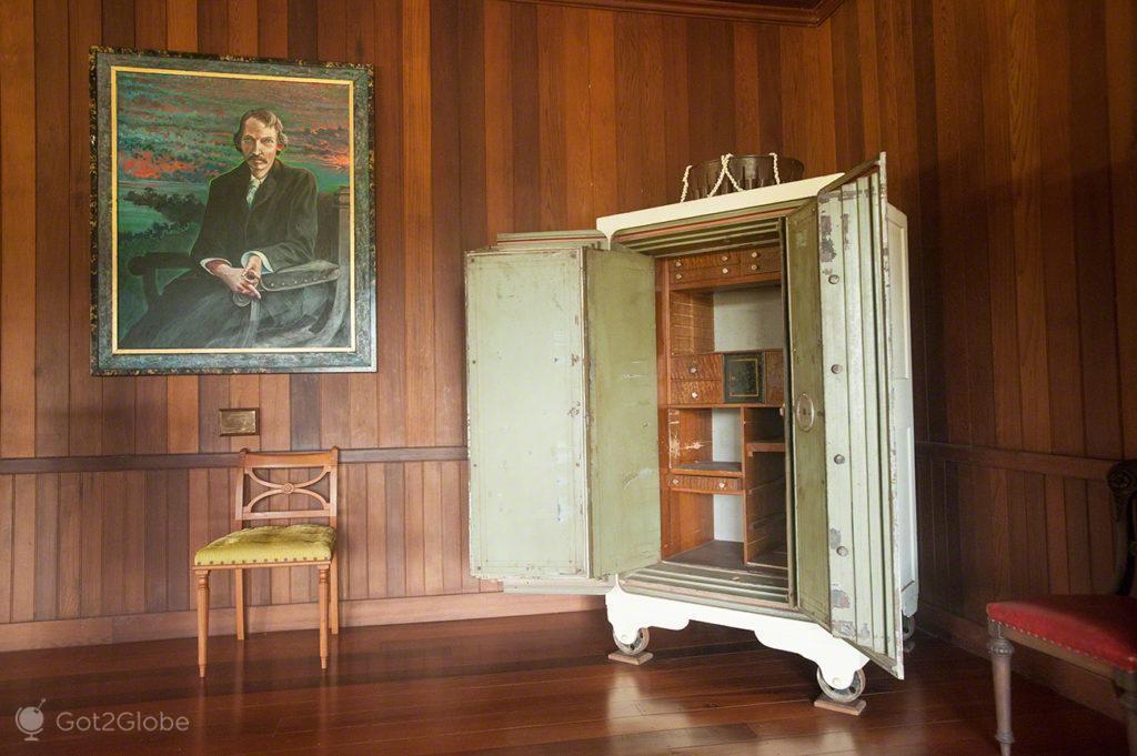 detalhe sala, vila vailima, Robert Louis Stevenson, Upolu, Samoa