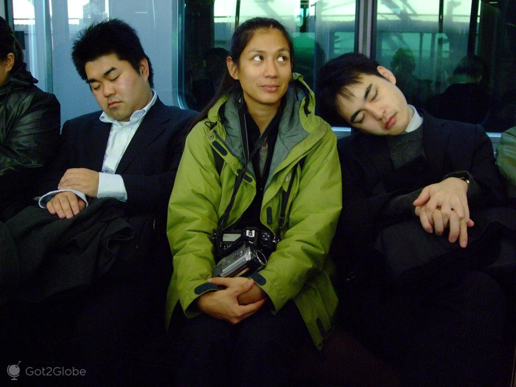 Dormir ombro amigo, sono, dormir, metro, comboio, Toquio, Japao