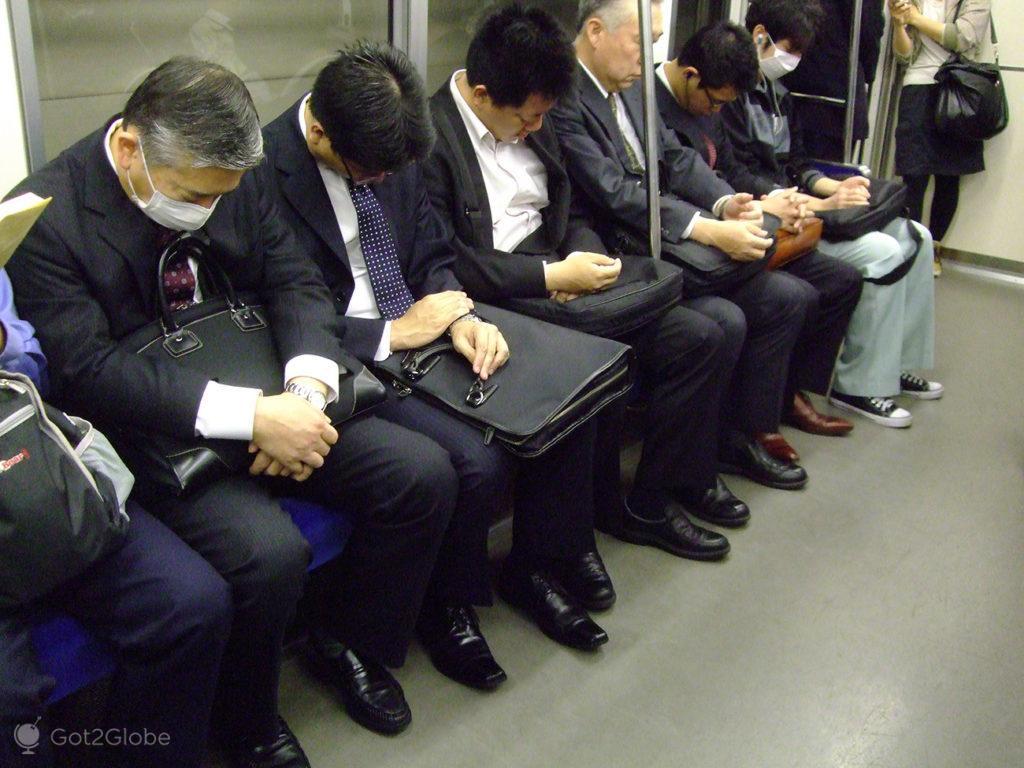 Executivos dormem assento metro, sono, dormir, metro, comboio, Toquio, Japao