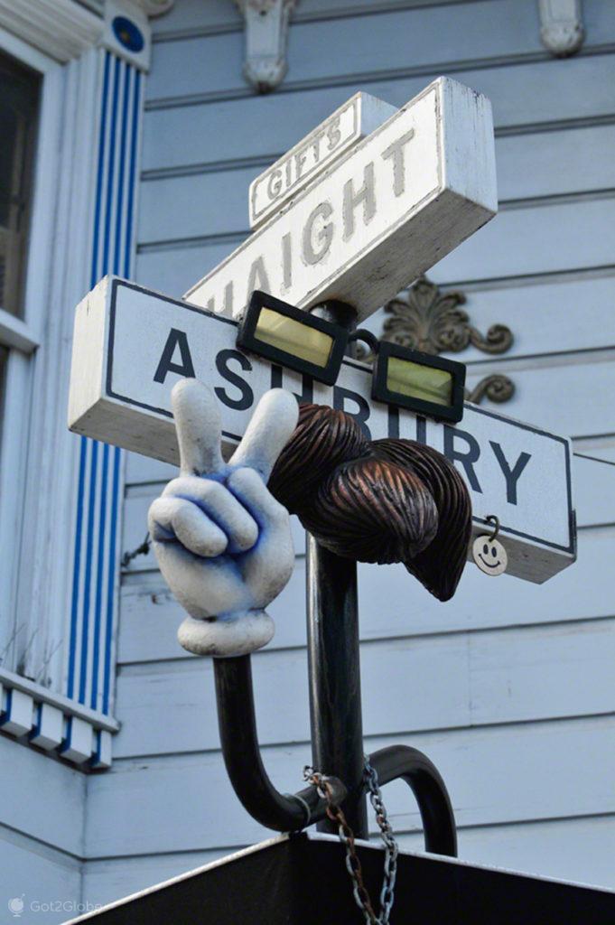 Sinal, bigode, Haight Ashbury, Sao Francisco, EUA, Estados Unidos America