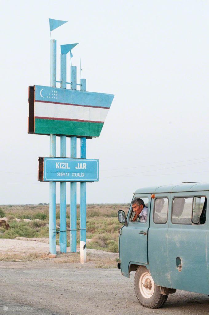sinaletica, carrinha transporte, Mar de Aral, Usbequistão