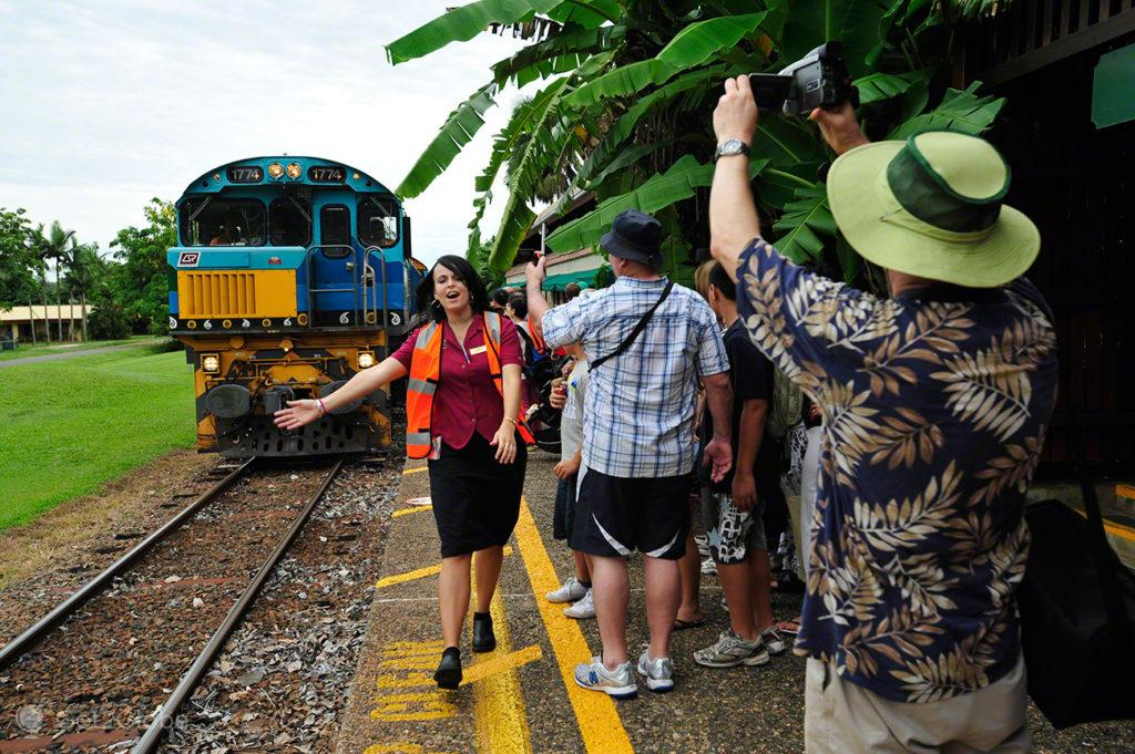 Tropical, passageiros, Kuranda train, Cairns, Queensland, Australia