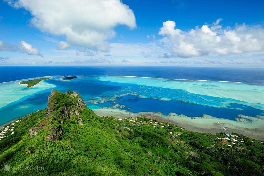 vista, monte Teurafaatiu, mar, Maupiti, Ilhas sociedade, Polinesia Francesa
