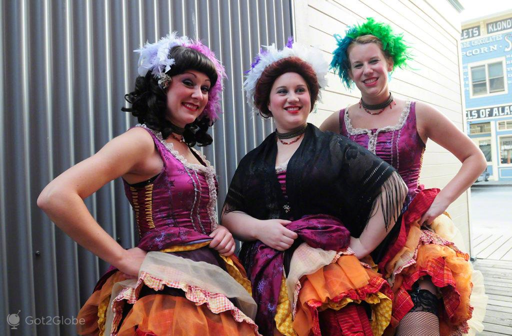 bailarinas, can can, the days of 98, Skagway Rota do ouro, Alasca, EUA