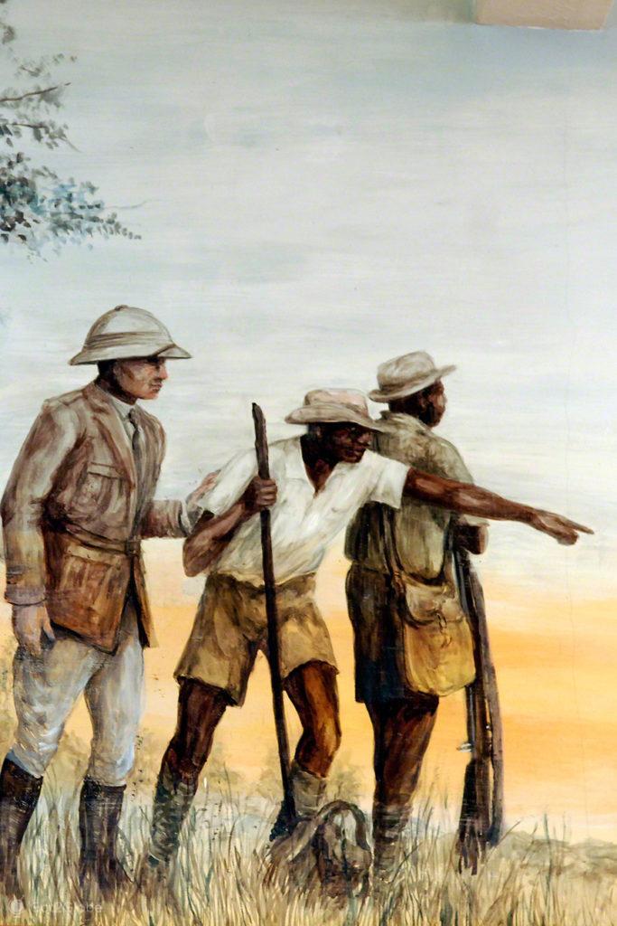 cataratas de victoria, zimbabwe, ilustracao, David Livingstone, pintura histórica com nativos e David Livingstone