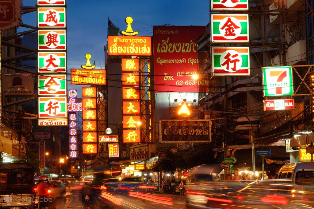 chinatown, luzes, cor, noite, banguecoque, mil e uma noites, tailandia