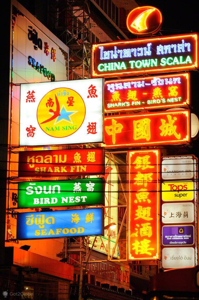 chinatown, neons, chines, banguecoque, mil e uma noites, tailandia