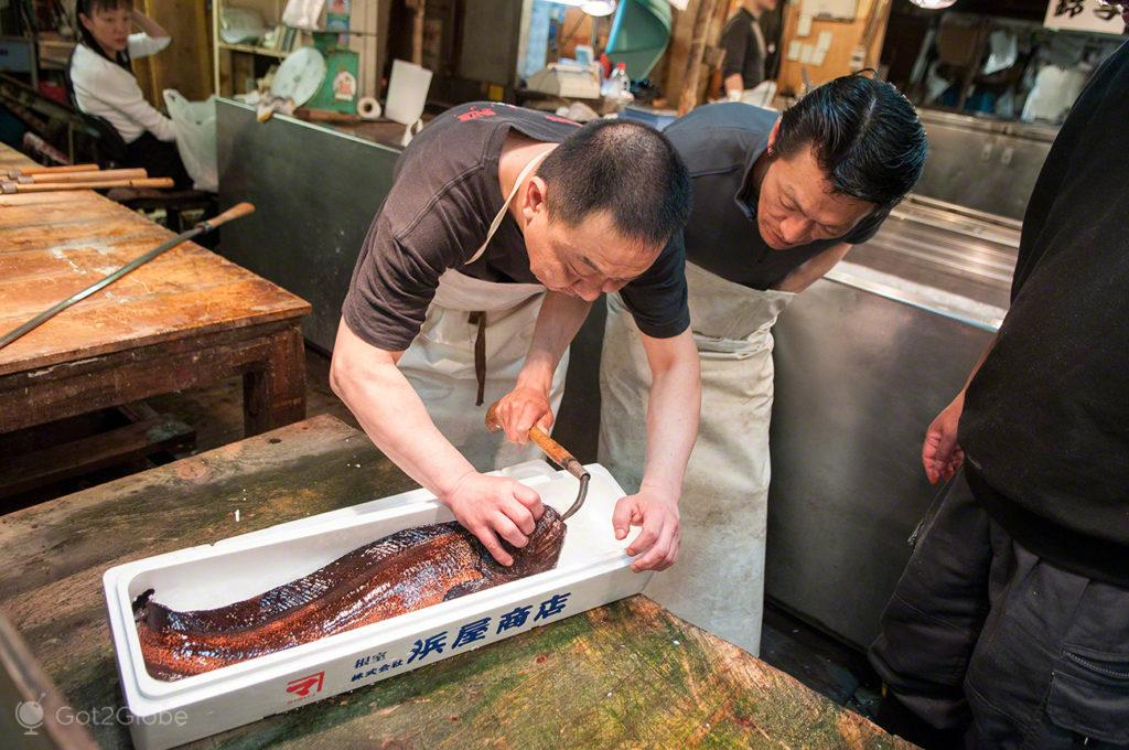 embalagem, peixe, vendedores, reino deposto, mercado, Tsukiji, toquio, japao