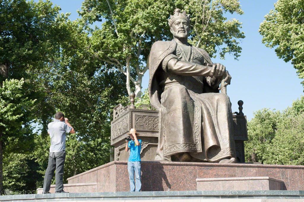 estatua, Timur, heroi uzbeq, rota da seda, samarcanda, uzbequistao