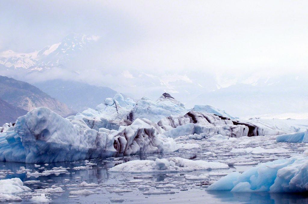glaciar columbia, icebergs, rota ouro negro, Valdez, Alasca, EUA