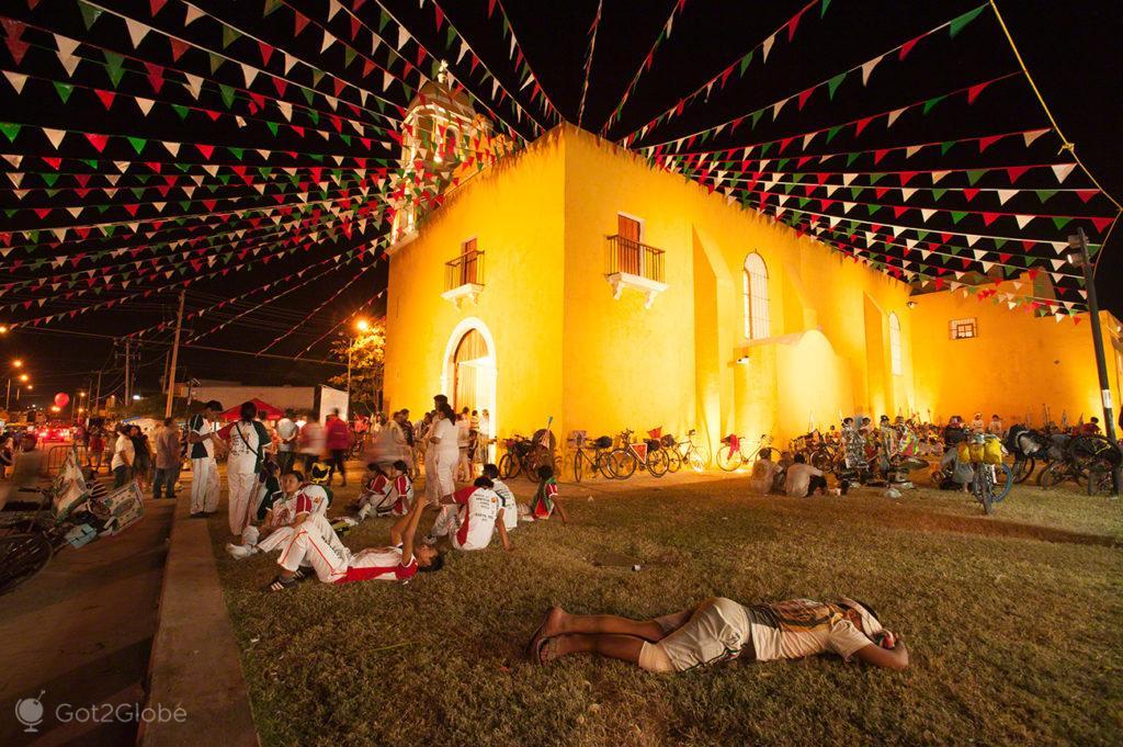 igreja, campeche, crentes, peregrinos, nossa senhora, virgem, guadalupe, mexico