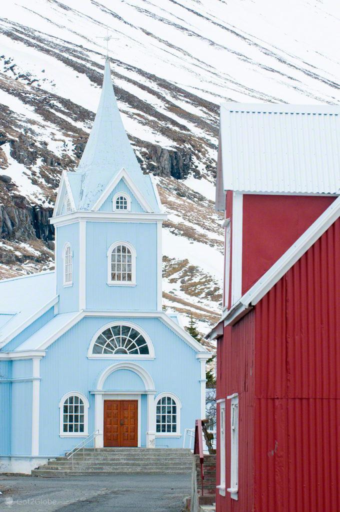 igreja, fiorde, Seydisfjordur, Islandia