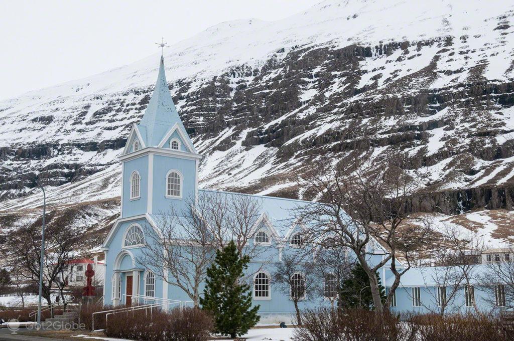 igreja, povoacao, fiorde, Seydisfjordur, Islandia
