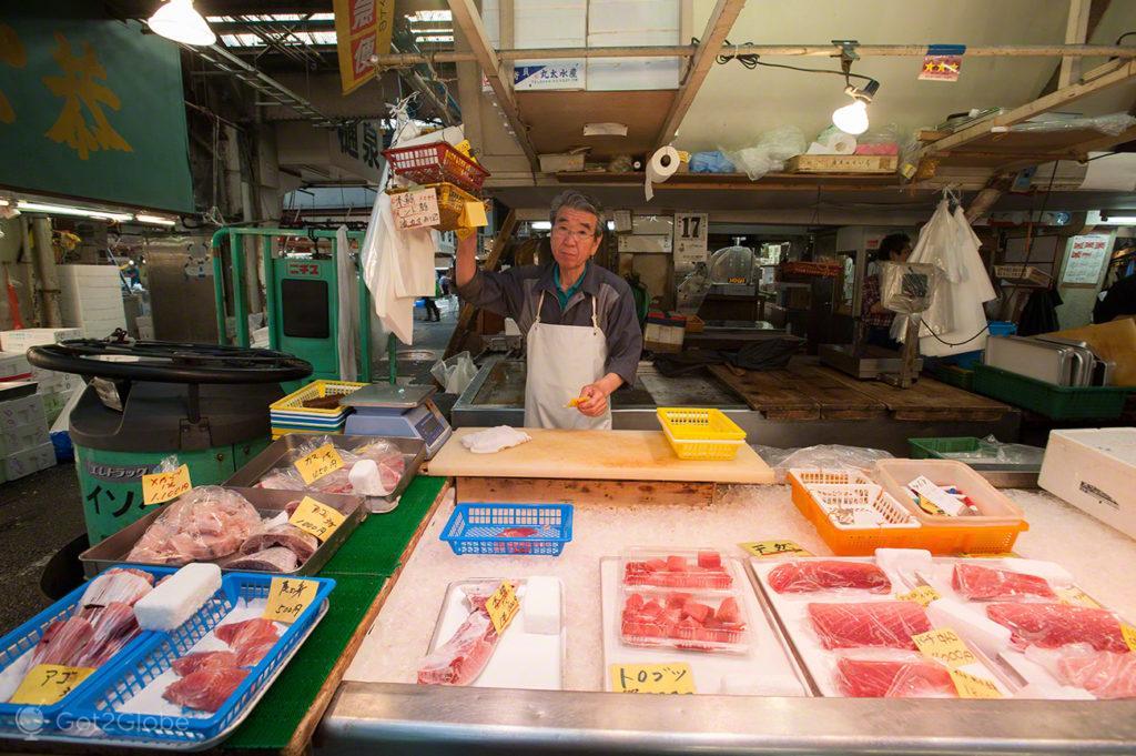 montra, peixe, marisco, vendedor, reino deposto, mercado, Tsukiji, toquio, japao