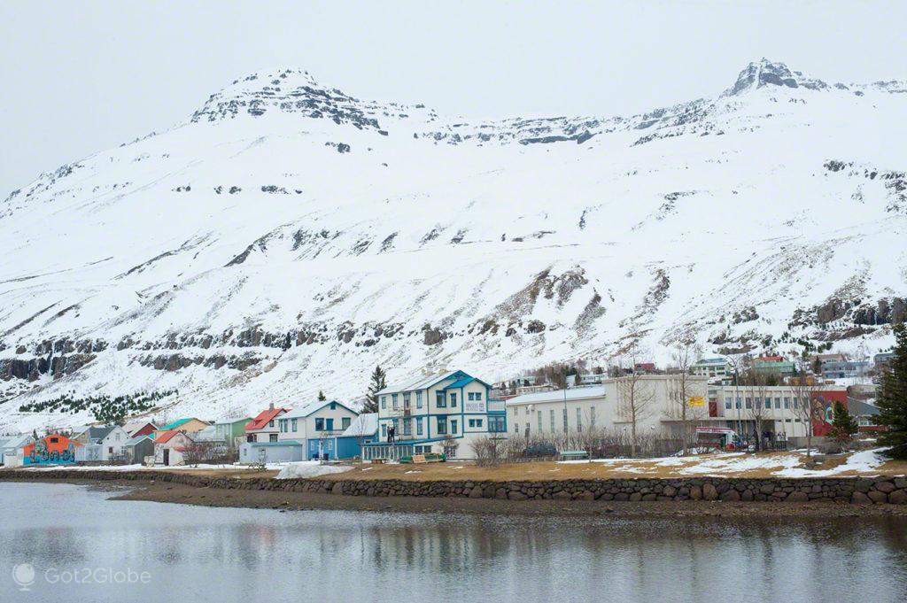 paisagem, fiorde, Seydisfjordur, Islandia