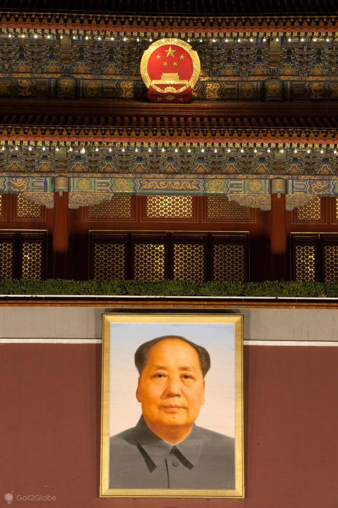 retrato, mao tse tung, portal, coracao dragao, praca tianamen, Pequim, China