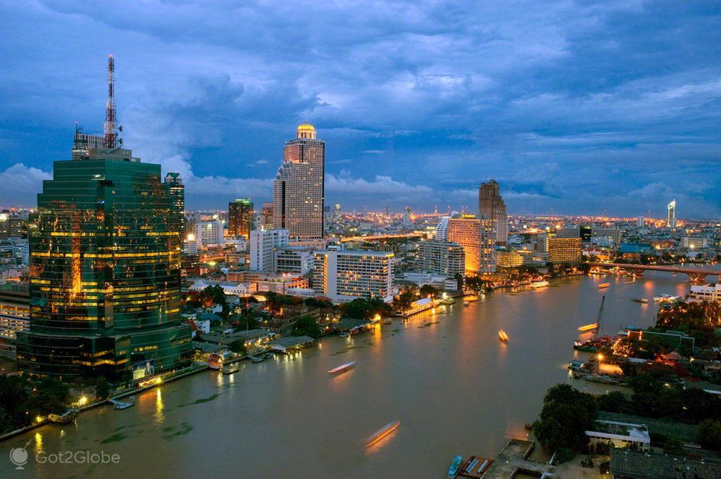 rio chao praya, noite, capital, banguecoque, mil e uma noites, tailandia