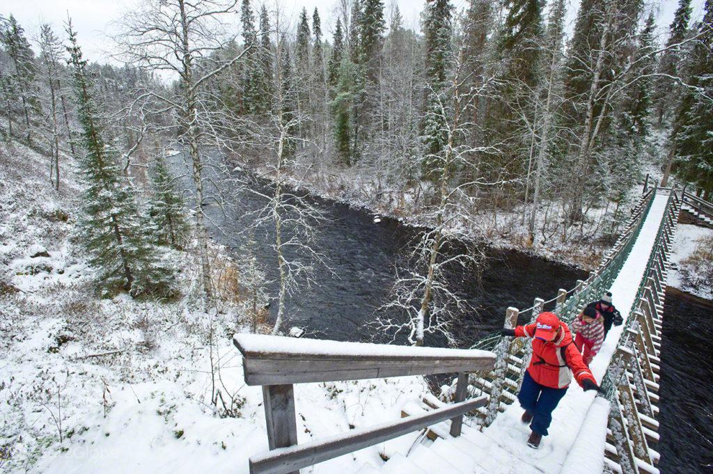 rio oulanka, ponte suspensa, visitantes, parque nacional oulanka, finlandia