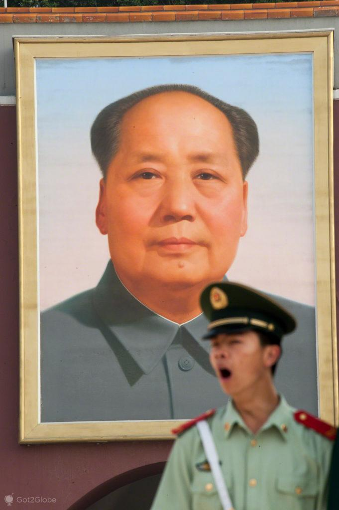 soldado, sono, boceja, mao tse tung, coracao dragao, praca tianamen, Pequim, China