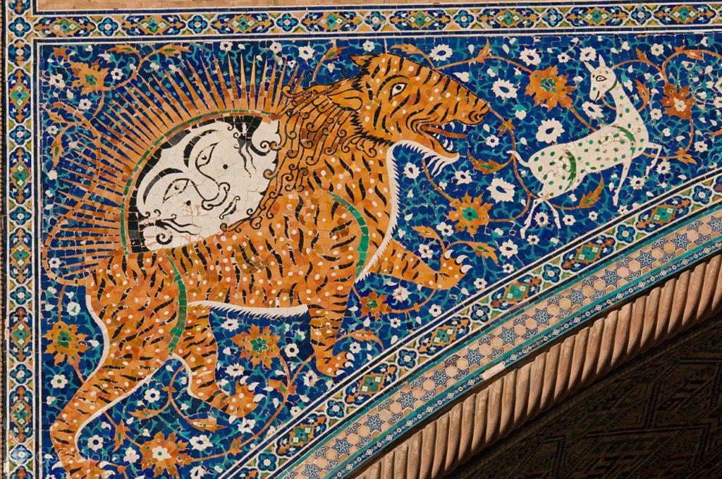 tigre persegue cabra, madraca, registao, rota da seda, samarcanda, uzbequistao