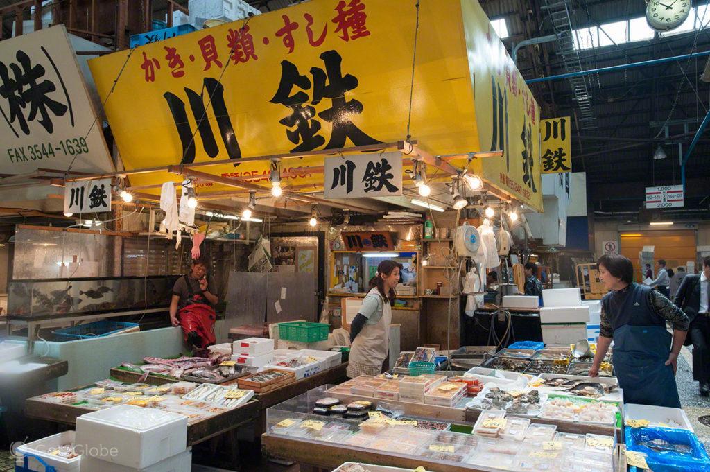 vendedores, peixe, reino deposto, mercado, Tsukiji, toquio, japao