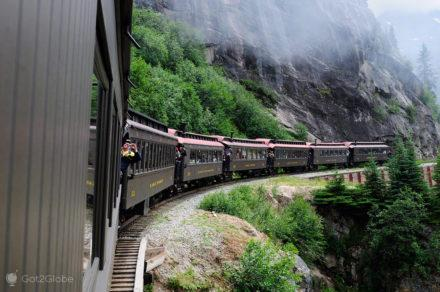 white pass yukon train, Skagway, Rota do ouro, Alasca, EUA
