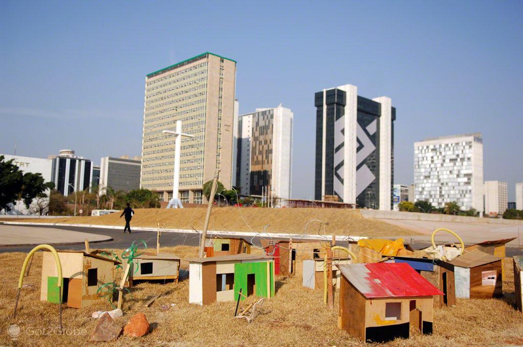 Instalação com favelas, Brasilia, Utopia, Brasil