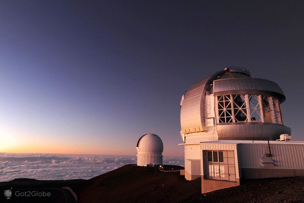 Observatórios, Mauna Kea vulcão no espaço, Big Island, Havai