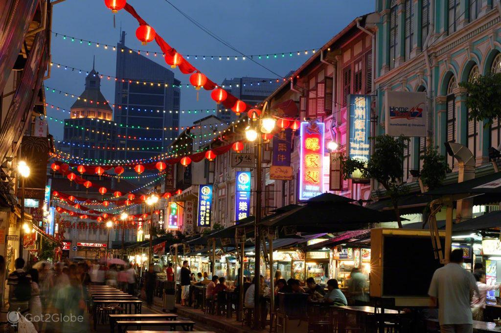 Anoitecer na Chinatown, Singapura, ilha Sucesso e Monotonia