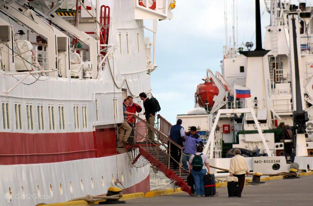 Passageiros de cruzeiro Antárctida, Ushuaia, ultima das cidades, Terra do Fogo, Argentina
