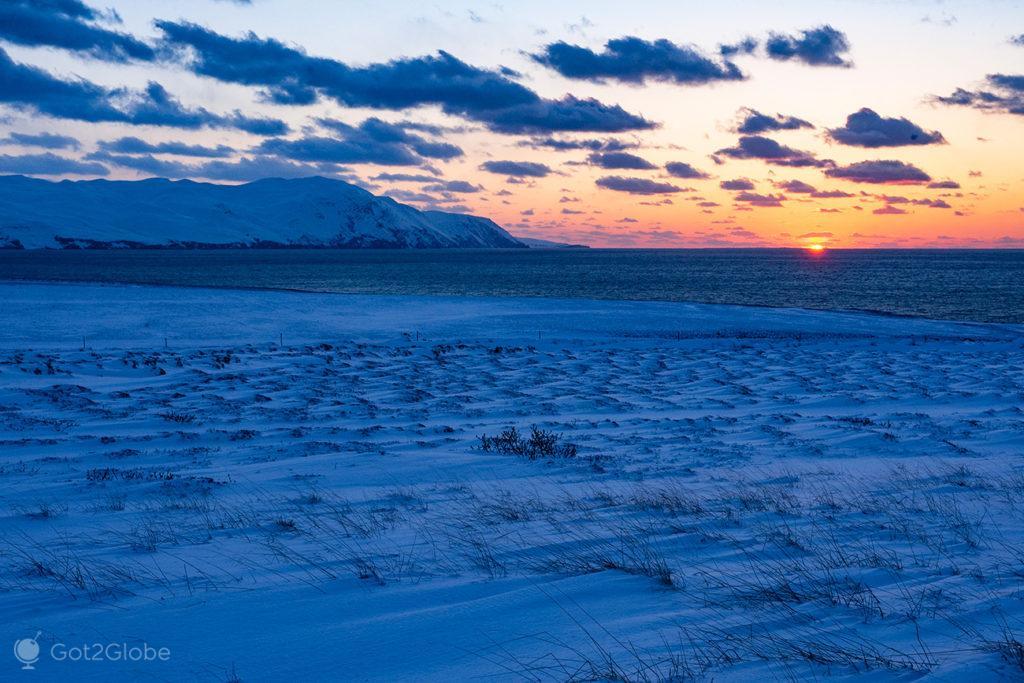 Ocaso, Islândia Neve Sem Fim Ilha Fogo