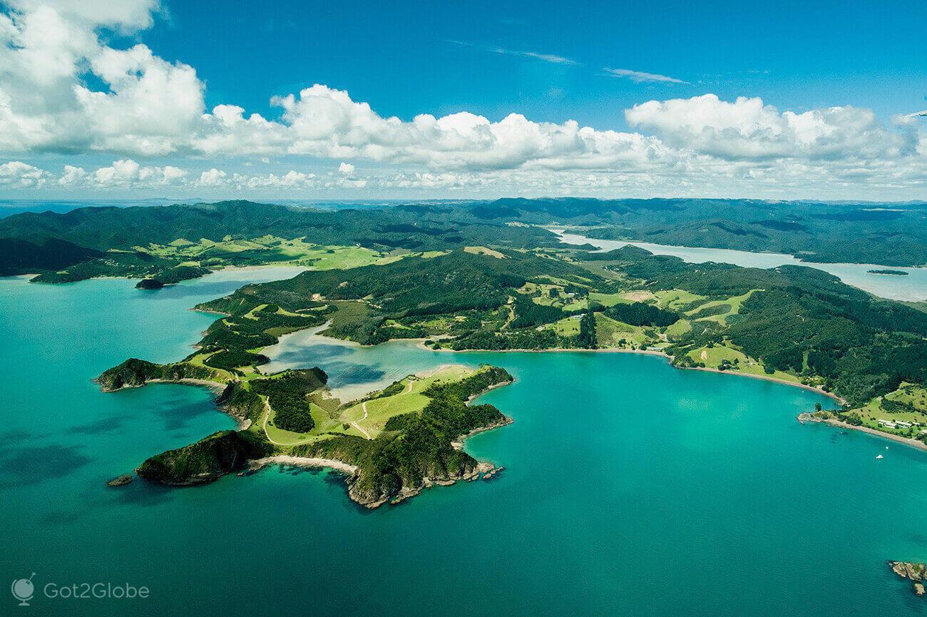 Bay of Islands vista do ar, Nova Zelândia