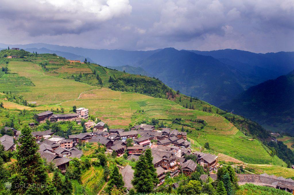A aldeia de Pingan em Longsheng, China