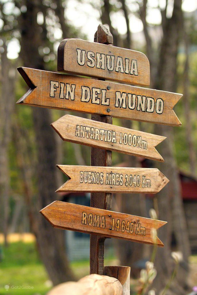 Placa indicações, Ushuaia, Argentina