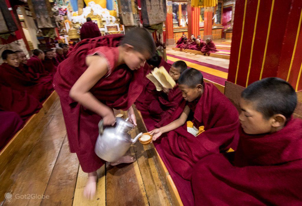 Leite servido aos jovens monges no mosteiro de Tawang, na Índia