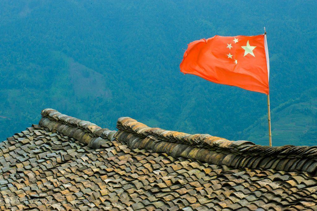 Bandeira chinesa em Longsheng, China