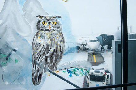 viagem de volta ao mundo, símbolo de sabedoria ilustrado numa janela do aeroporto de Inari, Lapónia Finlandesa
