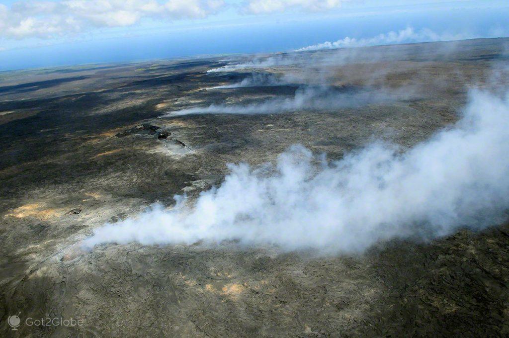 Grande Ilha Havai, Parque Nacional Vulcoes, rios de Lava